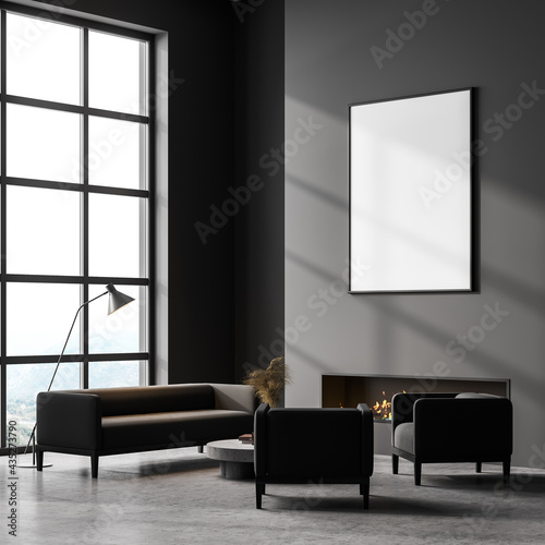 Canvas Print Modern interior living room with fireplace and white mockup poster on wall