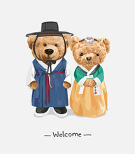 Welcome Slogan With Lovely Couple Bear Doll In Korean Traditional Style Costume Vector Illustration