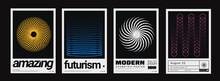Set Of Minimalist Abstract Posters. Meta Modern Covers. Swiss Design Pattern. Futuristic Geometric Composition. Bauhaus Artwork.