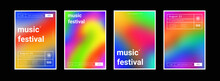 Set Of Gradient Colorful Backgrounds. Modern Abstract Color Backdrops. Bright Music Festival Posters Collection. Psychedelic Art.