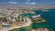 Aerial Drone Photo Of Beautiful Round Port Of Mikrolimano Or Small Port In The Heart Of Piraeus, Attica, Greece