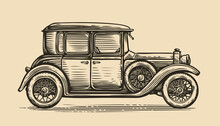 Retro Car Vector Illustration. Vintage Vehicle In Sketch Style