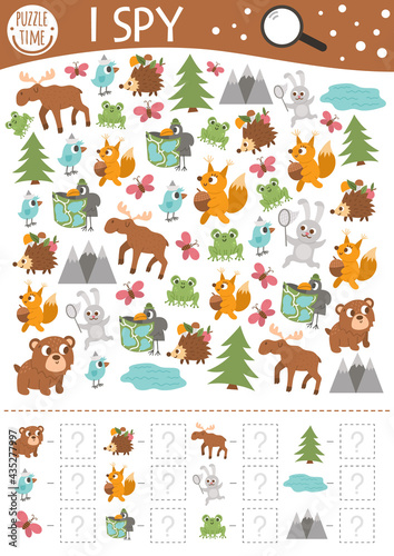 Fototapeta premium Forest I spy game for kids. Searching and counting activity for preschool children with woodland animals and nature elements. Funny printable worksheet for kids with birds and insects. Simple puzzle..
