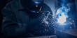 Leinwandbild Motiv Professional welder performs work with metal parts in factory, sparks and electricity. Industry worker banner