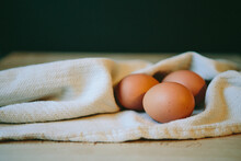 Brown Eggs With Cloth Napkin
