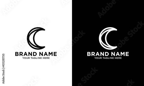 Fotografie, Tablou black crescent moon logo design outline vector icon in fancy linear outline style