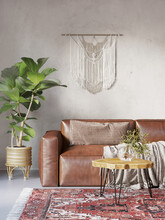 3d Bohemian Interior With Boho Macrame Wall Hanging Decor, A Fig Plant, A Round Wood Slab Coffee Table And A Dark Brown Leather Sofa
