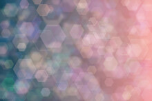 Dark Blue And Pink Abstract Defocused Background, Hexagon Shape Bokeh Spots