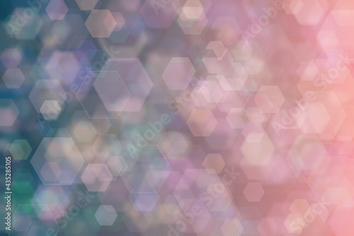 Obraz na plátně dark blue and pink abstract defocused background, hexagon shape bokeh spots