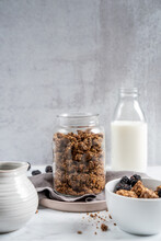 Granola In Bowl With Milk