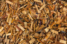 Texture. Woodworking Waste. Heaps Of Chips, Bark, Pieces And Sawdust.