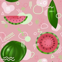 Seamless Pattern With Watermelon On Pink Background And Geometric Shapes , Memphis Style