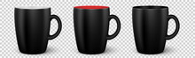 Set Of Vector Black Cups. Realistic Coffee Mugs With Handle. Colletion Of Black Cups With Different  Color Inside For Tea, Coffee And Hot Beverage. Vector Illustration EPS10