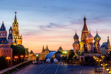 Colorful Sunset Over The Kremlin Wall Towers And St. Basil Cathedral At The Red Square. Summer Sunset In Moscow, Russia