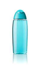 Turquoise Shower Gel Or Shampoo In A Transparent Bottle Isolated On White Background. Unlabeled Cosmetic Container For Body Care And Beauty Product Design. Toiletries Mockup Template.