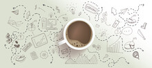 Start Up And New Business Cocnept With Top View On Coffee Cup At Light Surface Background With Handwritten Sketch Of Graphs And Social Media Icons
