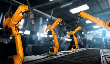 Mechanized Industry Robot Arm For Assembly In Factory Production Line . Concept Of Artificial Intelligence For Industrial Revolution And Automation Manufacturing Process .