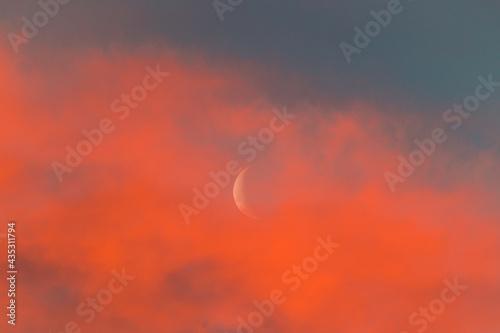 crescent moon in bright pink sunset sky Fotobehang