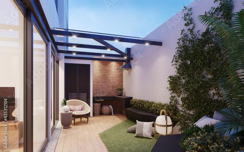 Fotografia, Obraz Jardín exterior de departamento, con área de bbq, 3d render