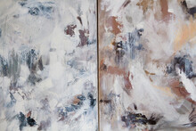 Contemporary Abstract Paintings. Closeup View Of Two Colorful Paintings With Contrasting Color Palette And Beautiful Brushwork Texture.