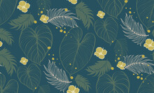 Natural Fabric Seamless Pattern With Tropical Leaf Palm . Vector Illustration.