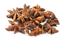 Pile Of Star Anise Fruits Closeup On White