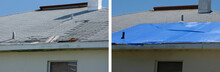 Before And After Temporary Repair On A Badly Storm Damaged Roof On A House With A Big Leaky Hole In The Shingles And Rooftop On Left And Covered Hole With Blue Plastic Tarp On Right.