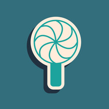 Green Lollipop Icon Isolated On Green Background. Candy Sign. Food, Delicious Symbol. Long Shadow Style. Vector