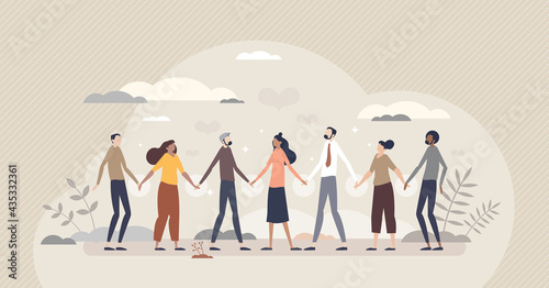 Solidarity and unity in different social ethnic groups tiny person concept Fototapet