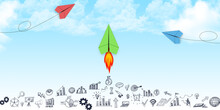 Successful Leader In Business, Leadership Concept, Red, Blue, Green Paper Plane Flying, Business Icons, Grow Your Business.