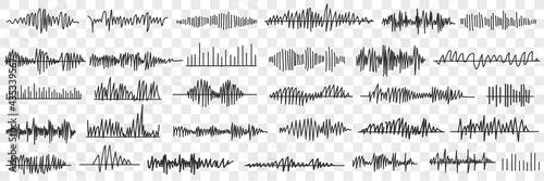 Fotografie, Obraz Sound and voice recording doodle set