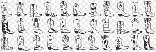 Fotografiet Various cowboy boots doodle set