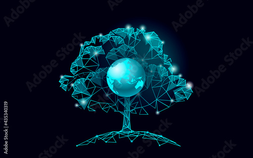 Plant tree ecological abstract concept. 3D render seedling tree forest. Save planet Earth nature environment grow life eco polygon triangles low poly vector illustration