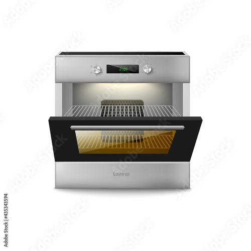 Template of electric oven with open door realistic vector illustration isolated Fototapet