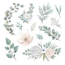 Delicate Painted Flowers In Vintage Style Raster