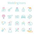 線画 3色アイコン 結婚式 ミントカラー
