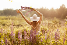 A Young Girl In A Light Dress And A Hat With A Bouquet In Her Hands On A Lupine Field, Looking At The Sunset. Rear View, Space For Text