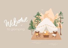 Welcome To Glamping Concept. Bell Tent, Chairs Near Camp Fire With Blanket And Pillows On Terrace. Outdoor Recreation In Mountains And Forest. Cozy Courtyard Illustration Card, Banner. Suburban Scene