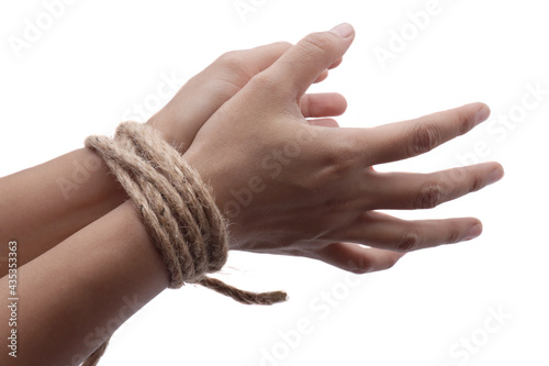 Foto Person hands tied with rope isolated on white background, captive victim restrai