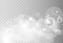 Air Soap Bubbles On A Transparent Background .Vector Illustration Of Bulbs.