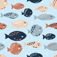 Childish Seamless Pattern With Cute Fish. Creative Texture For Fabric, Textile