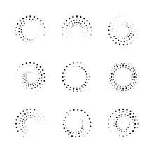 Halftone Spiral Frames Set. Logo Design Element Or Abstract Background. Vector Illustration.