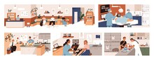 Set Of Scenes In Vet Clinic. Doctors Examining And Cure Pets In Veterinarian Office. Sick Animals And Their Owner During Checkup In Modern Veterinary Hospital. Colored Flat Graphic Vector Illustration