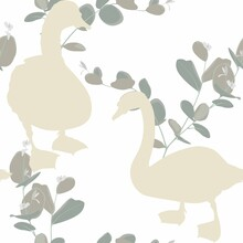 Beautiful Seamless Pattern With Swans Bird Silhouette And Eucaliptus Branches Illustration On White Background.