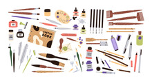 Set Of Calligraphy And Lettering Tool Kit. Different Pens, Pencils, Brushes, Acrylic Paints, Ink Bottles, Quills And Sketchbook. Colored Flat Graphic Vector Illustration Isolated On White Background