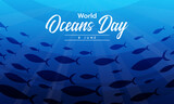 world ocean day text on a group of mackerel swimming under the ocean vector design