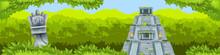 Maya Pyramid Jungle Vector Background, Ancient Aztec Temple Ruin, Tropical Rainforest Silhouette, Totem. Old Civilization Travel Illustration, Mexico Landmark Banner. Maya Pyramid, Green Bushes, Palms