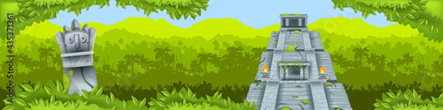 Maya pyramid jungle vector background, ancient Aztec temple ruin, tropical rainforest silhouette, totem Fotobehang
