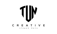 TUN Letters Creative Logo With Shield