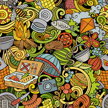 Picnic Hand Drawn Doodles Seamless Pattern. BBQ Background.